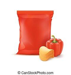 pomme terre, paprika, sac, fleuret, chips, pile, rouges