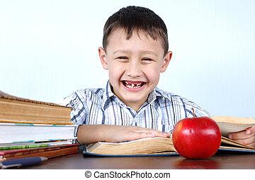 pomme, tooths, sans, livres, sourire, plusieurs, rouges, écolier