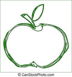 pomme, vecteur, vert