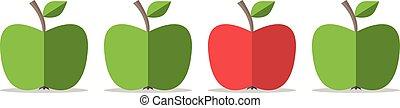 pomme verte, rouges