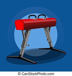 Pommel horse, side horse, vaulting horse. Artistic gymnastics apparatus. Sport equipment. Gym equipment. Vector illustration