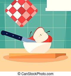 pommes, bol, planche, couteau, cuisine