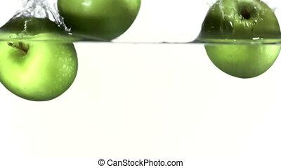 pommes, eau chute