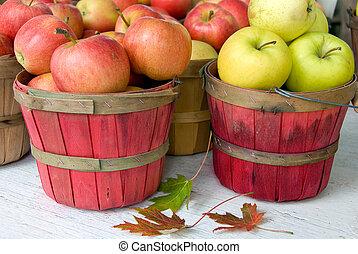 pommes, paniers, boisseau