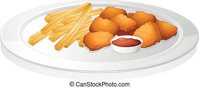 pommes, soße, franzoesisch, cutlet