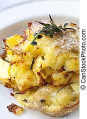 pommes terre, écrasé, rôti