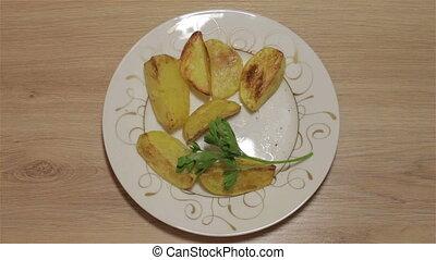 pommes terre, cuit, plaque
