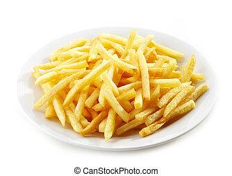 pommes terre, frire, francais, plaque