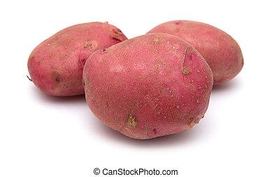 pommes terre, isolé, rouges