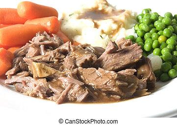 pommes terre, pot, carottes, pois, écraser, dîner, vert, ...