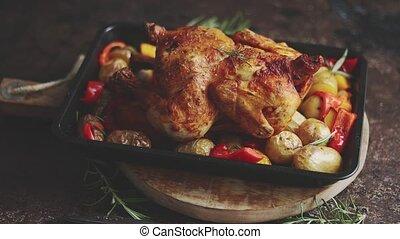 pommes terre, rouges, poulet, turquie, poivre, rôti, entier, rosemary., citrouille, ou