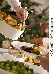pommes terre, servir, rôtis noël, déjeuner