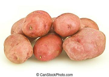 pommes terre, tas, rouges