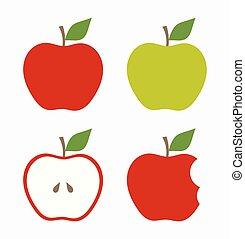 pommes vertes, rouges