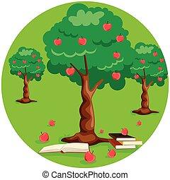 pommier, livre, pommes, pile, rouges, terrestre