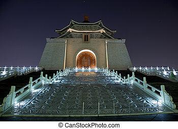 pomník, dveře, zlatý hřeb, večer, chiang, taiwan, jídelna, ...