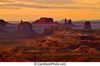 pomník, po, západ slunce