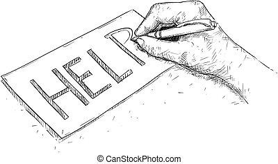 pomoc, ilustracja, ręka, papier, wektor, artystyczny, pisanie, rysunek