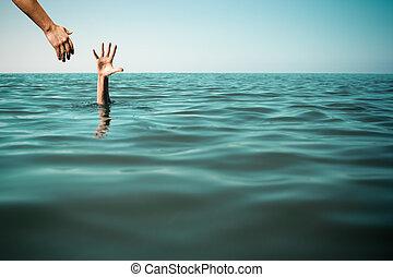 pomoc, ręka, dla, topienie, człowiek, życie zbawcze, w, morze, albo, ocean.