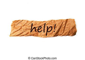 pomoc, tytuł, na, kawał papieru
