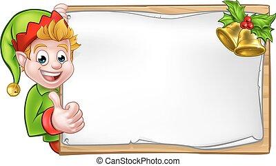 pomocnik, elf, do góry, znak, kciuki, święty, boże ...