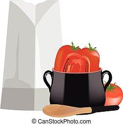 pomodori, cappello, chef, vaso