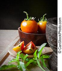 pomodori, e, verdura, di, bio, cibo