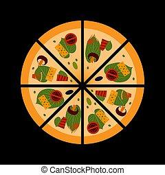 pomodori, ogive, pancetta affumicata, fresco, formaggio, pizza