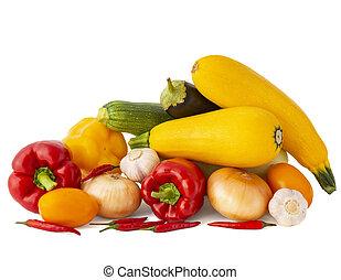 pomodoro, aglio, melanzana, chili pepa, dolce, cipolla, dorato, bianco, rosa, zucchini, fondo, campana