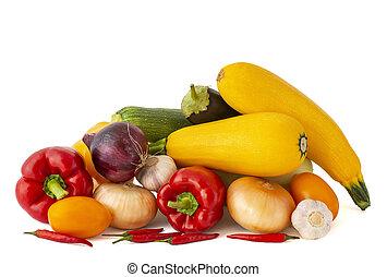 pomodoro, aglio, melanzana, chili pepa, dolce, cipolla, rosso, dorato, bianco, rosa, zucchini, fondo, campana