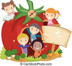 pomodoro, bambini scuola, stickman, giardino, illustrazione