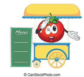 pomodoro, bancarella, carrello