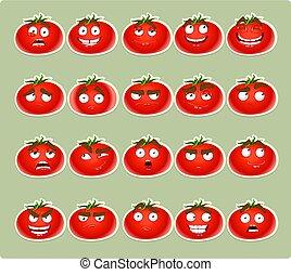 pomodoro, carino, cartone animato, sorrisi