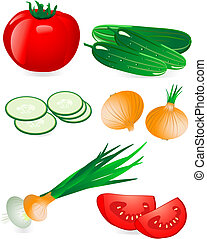 pomodoro, cetriolo, cipolla