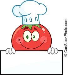pomodoro, chef, sopra, segno bianco