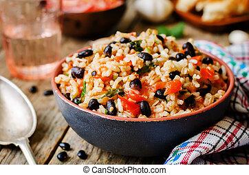 pomodoro, cilantro, messicano, fagioli neri, riso