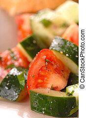 pomodoro, closeup, cetriolo, insalata