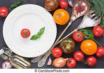 pomodoro, colorito, verdura insalata, fresco, assortimento