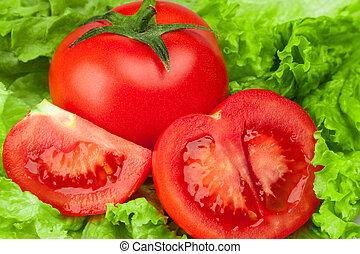 pomodoro, con, insalata