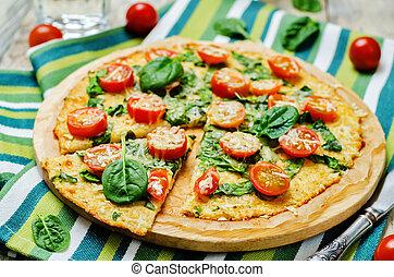 pomodoro, crosta pizza, cavolfiore, spinacio