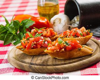 pomodoro, e, aglio, bruschetta