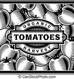 pomodoro, etichetta, nero, retro, bianco, raccogliere