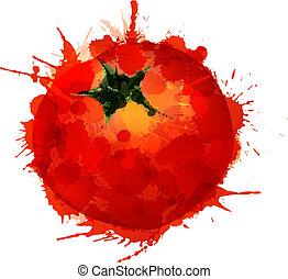 pomodoro, fatto, colorito, schizzi, fondo, bianco