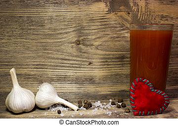 pomodoro, fondo., legno, vetro, succo, aglio, spezie