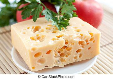 pomodoro, formaggio, pezzo, fondo