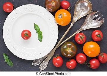 pomodoro, fresco, assortimento, colorito, insalata