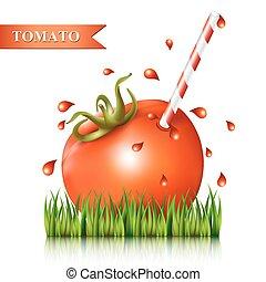 pomodoro, fresco, erba, rosso, fragment.