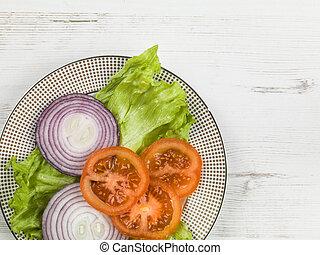 pomodoro, giardino, cipolla, insalata, lattuga, fresco