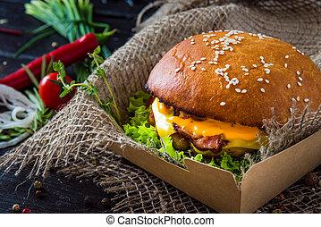 pomodoro, hamburger formaggio, cipolla, doppio