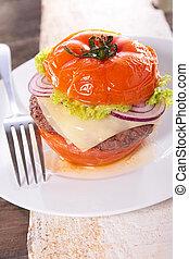 pomodoro, hamburger, formaggio